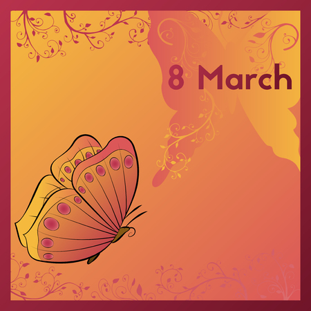 The Eighth Of March. Greeting card template in orange colors with a butterfly. E-card is decorated with plants with swirls vector illustration. Ilustração