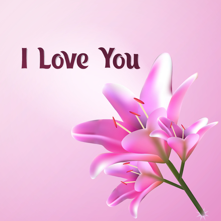 I love you. Greeting card vector illustration. Postcard template with flower of the Lily. E-card pastel pink for Valentines Day.