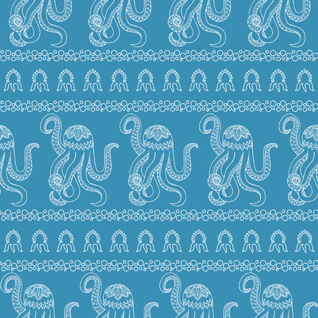 Blue vector seamless pattern background. Illustration of underwater life in the style of Zen Tangle. A Zentangle octopus illustration. A Wallpaper with marine animals.