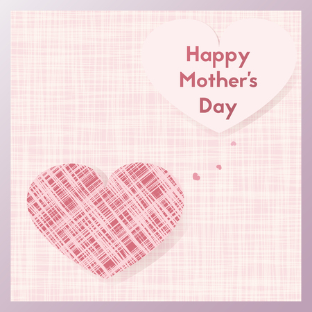 Happy Mothers Day. A present for your mom. Greeting card with pink textile heart. Postcard vector illustration. Illustration