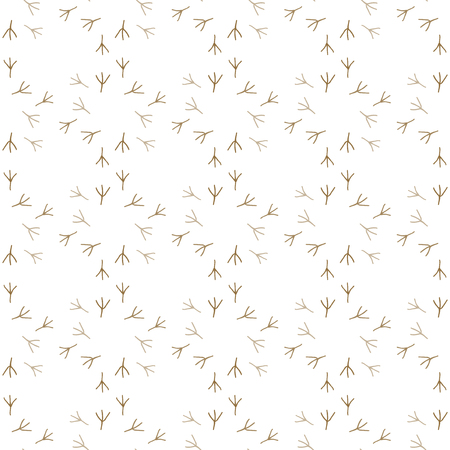 dingbats: Footprints of a bird. Seamless pattern background. White and brown color vector illustration.