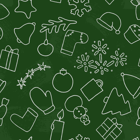 variegated: New year seamless pattern background. Christmas vector illustration on a blackboard. Fir-tree, snowman, candy, gift, present, bell, cap, felt boots, toy, tree, Christmas, snowflake, star, variegated, cake Illustration
