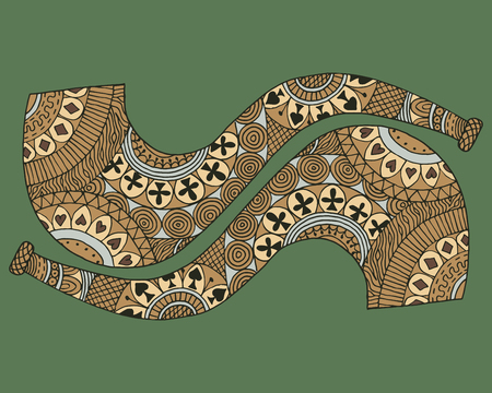 Zen tangle two wooden smoking pipe vector illustration. Zentangle briar for Smoke. Green background. Illustration