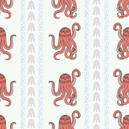 Ethnic seamless pattern background. Red octopus vector illustration of a Zen Tangle. Zentangle ocean.
