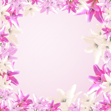 Vector frame illustration. Garden and wild lily. In the style of a mesh. Concept of botanical blossom.