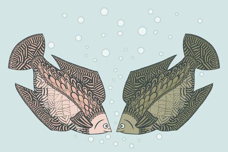 Two cute loving fish. Zen tangle vector illustration. Zentangle Undersea animals. Illustration