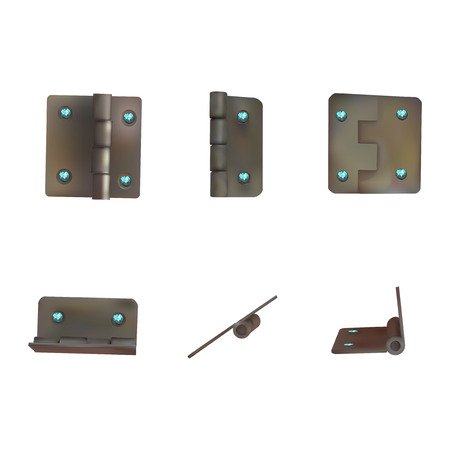 Hinge with blue diamonds for doors vector illustration. Set of brass or bronze industrial ironmongery. Mechanism for rich retro style furniture.