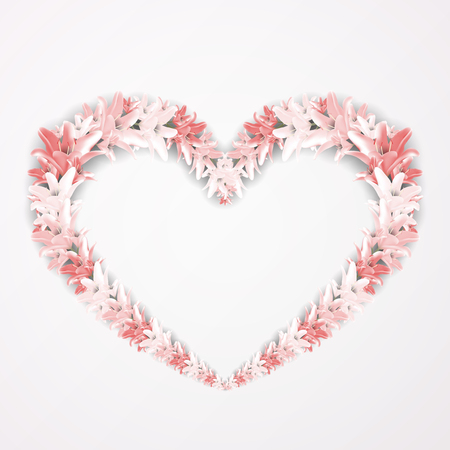 Vector floral frame in the shape of heart. Design elements with red lily flowers.