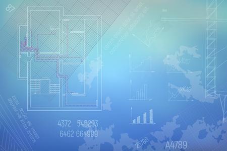 HVAC Engineering tekening. Blauwe achtergrond en wit contourschema. Een deel van technische trekkings Vectorillustratie. Stock Illustratie