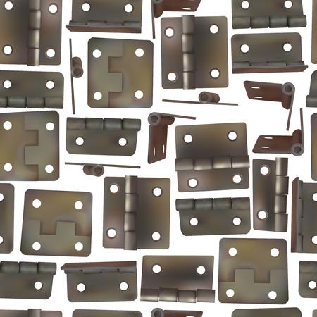 ベクトル図のドア用ヒンジ。真鍮、金や青銅の工業用金物類のシームレスなパターン背景。レトロなスタイルの家具のためのメカニズム。