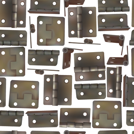 Hinge for doors vector illustration. Seamless pattern background of brass, golden or bronze industrial ironmongery. Mechanism for retro style furniture. Vectores