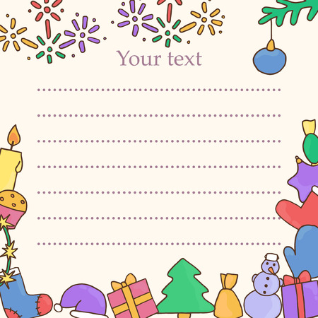 variegated: New year postcard. Christmas greeting card. Template for eve vector illustration. Fir-tree, snowman, candy, gift, present, bell, cap, felt boots, toy, tree, Christmas, snowflake, star, variegated, cake Illustration
