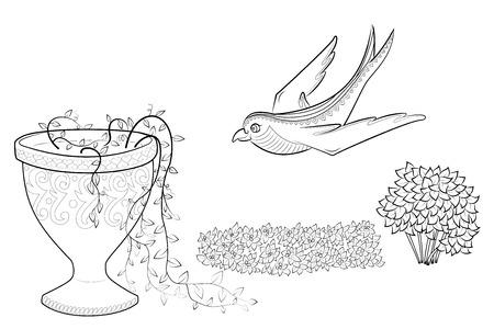 Volando Tragar Ilustración Vectorial. Flores Del Enredo Del Zen En ...