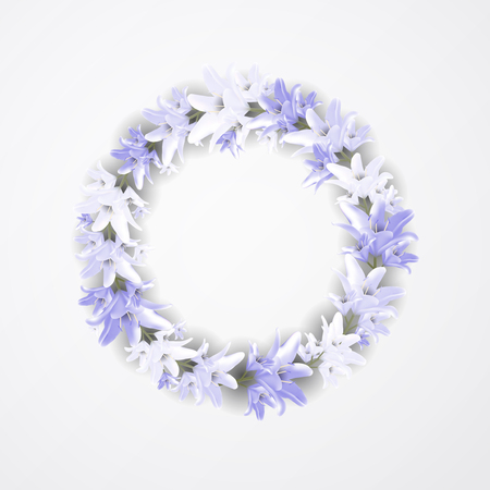 Vector flowers of lily from the garden. Beautiful blue wreath with lilia. Floral design for wedding, invitation and greeting cards.