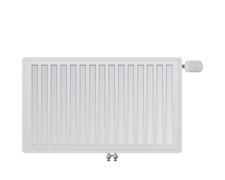 mechanical radiator: Steel panel radiator on a white background. Mechanical thermal head vector illustration. Bottom middle connection to the heating system.