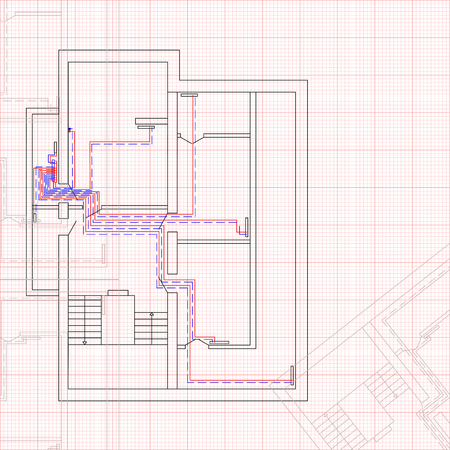 Engineering draft of heating system the house. Concept of construction blueprint vector illustration. Sketch technical drawings.