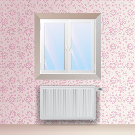 mechanical radiator: Steel panel radiator under the window. Heating equipment with electronic thermostatic head. Vector wallpaper with floral pattern.