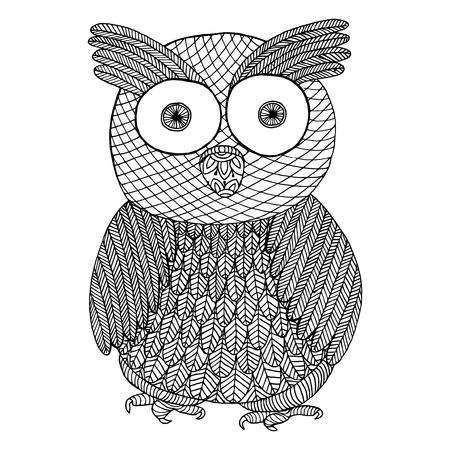 フクロウの zendoodle。禅のもつれと禅は落書き鳥のベクトル図です。大人のためのヴィンテージの塗り絵。野生動物のタトゥー
