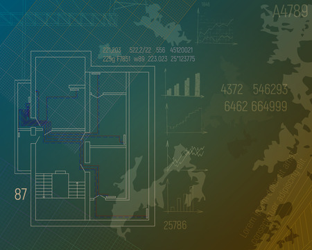 Design project of heating the house. HVAC banner blue print vector illustration. Sketch of technical drawings in shades of green. Illustration