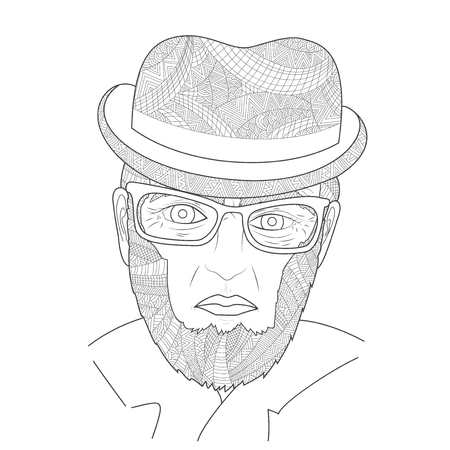 old people: The old men portrait man Zen Tangle vector illustration. Grandfather with a glasses in the hat. Coloring book for adults. Black and white Illustration