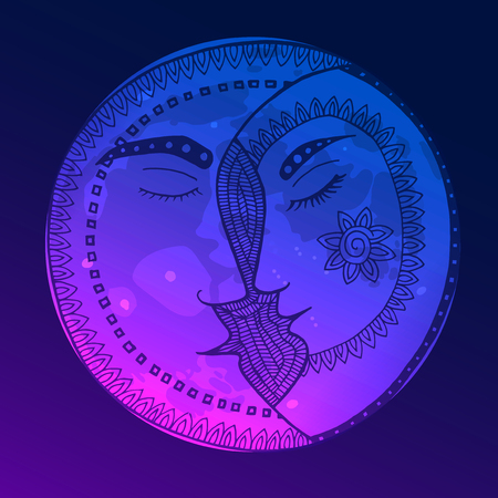 Bright moon in the style of Zen Tangle. Blue pink vector illustration.