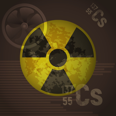 caution chemistry: Yellow radioactive sign danger vector illustration. Cesium 137 on a brown background. Protection from chemical contaminants. Illustration