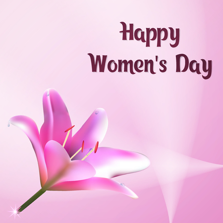 Happy Womens Day. Greeting card with flower of lily. Template postcards pink color. E-card vector illustration. 向量圖像