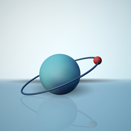 A hydrogen atom vector illustration. The electron in orbit. The scientific model of micro molecules.