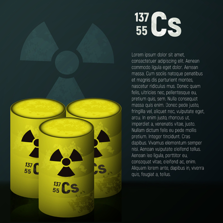 A cask of toxic radioactive waste. Container yellow with danger symbol vector illustration. Pollution cesium 137 on a black background. Illustration
