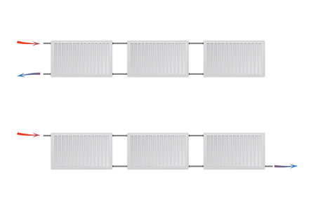 Two different heating systems with steel panel radiators on a white background. HVAC vector illustration.