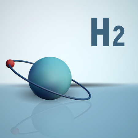 isotope: A hydrogen atom with an electron in orbit. Chemical model of the molecule. H2 vector illustration.