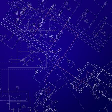 보일 러 룸 기술 드로잉 벡터 일러스트 레이 션. 히터 엔지니어링 프로젝트. 파란색 배경 및 흰색 장비입니다. 일러스트