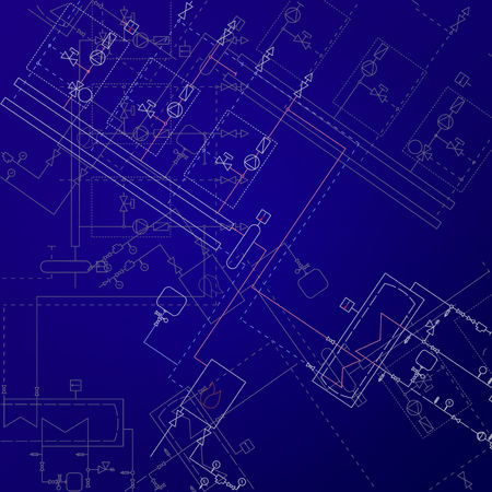 Boiler room technical drawings vector illustration. Heater engineering project. Blue background and white equipment. Фото со стока - 83176268