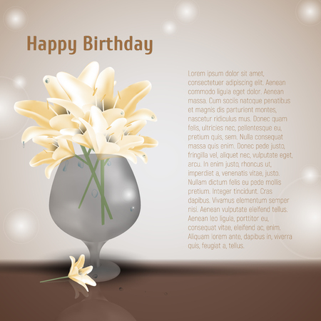 Lily flowers in glass vase. Vector illustration of blooming lilia with yellow petals. Place for Your text. Beauty art with lilly blossom in vaze. Birthday greeting card.