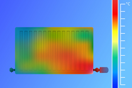 Steel panel radiator vector illustration. Equipment for heating a thermal imaging camera. The concept of saving energy. Scanning infrared image of the HVAC system.