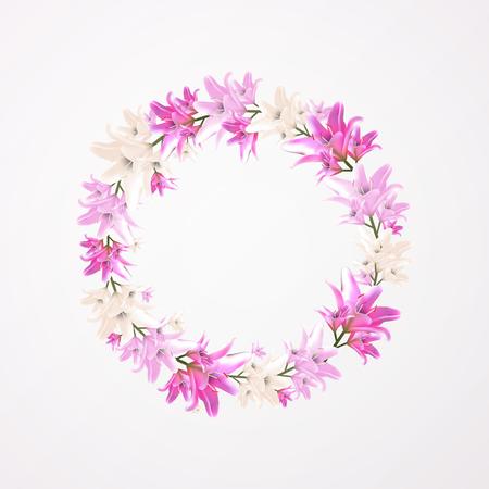 Round floral frame vector illustration. Flower lily blossom vector illustration. Pink pastel colored. Illustration