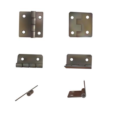 Hinge for doors vector illustration. Set of brass or bronze industrial ironmongery. Mechanism for retro style furniture. Vectores
