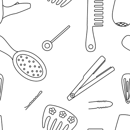 bobby pin: Black and white seamless pattern background with tools for hairstyles. Hair comb, hair dryer and clips vector illustration.