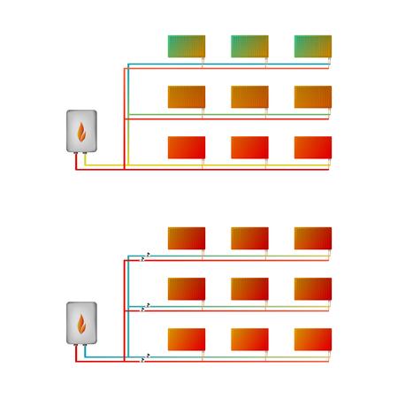 thermal imaging: Two-pipe horizontal thermal imaging.