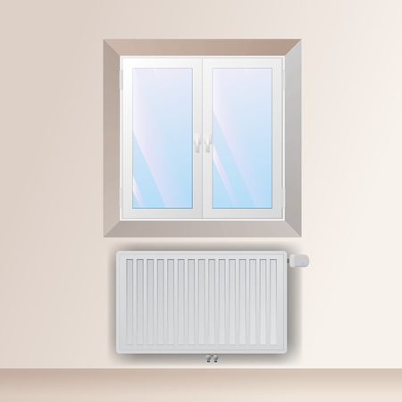 mechanical radiator: Steel panel radiator in the interior under the window. Heating equipment vector illustration. Illustration