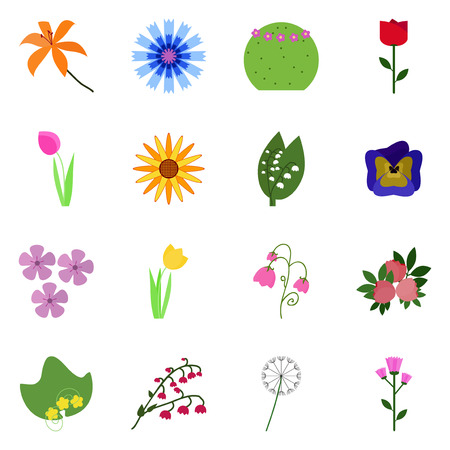 Vector icons set with blossom. Flowering collection. Illustration