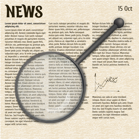 The image of the newspaper with a magnifying glass. News with magnifier vector illustration. Business drawing.