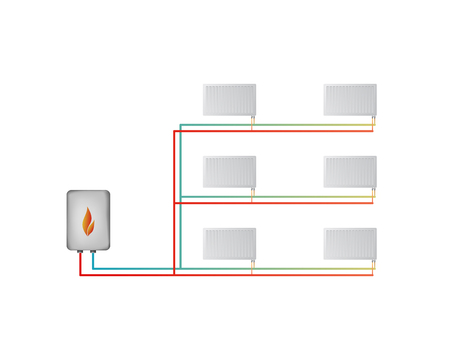 Two-pipe Horizontal Heating System Vector Illustration. The Lower ...