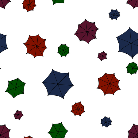 rainy season: Seamless pattern background with a lot of umbrellas. Vector illustration.