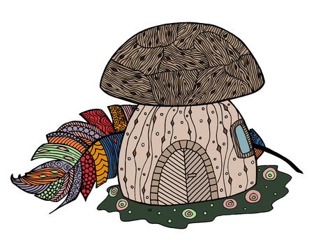 Mushroom vector illustration. Fungus zen tangle and doodle. Feather of bird coloring book.