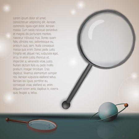 Card with text vector illustration. Scientific template. Atom and a magnifying glass in retro style.