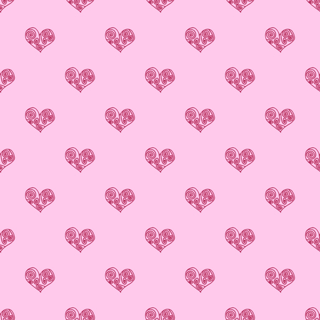 Seamless pattern background with pink hearts. Marriage wallpaper vector illustration.