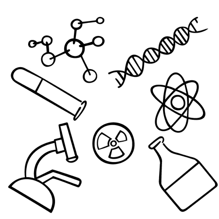 Science icons set. Chemistry vector illustration. School and university laboratory. Nanotechnology and microbiology concept Illustration