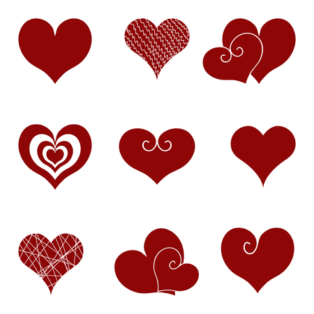 Set of icons of red hearts. Vector images