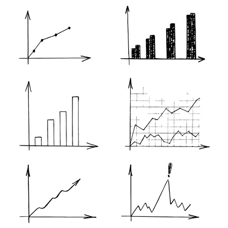 Graphs vector illustrations. Set of different business report in black on a white background. Illustration